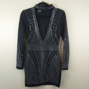 Bebe rhinestone studded deep v dress size xs
